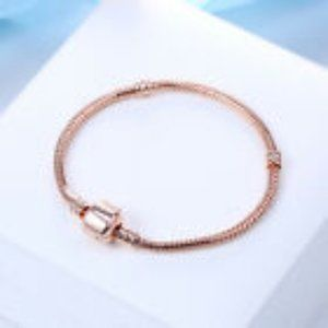 Jewelry - Snake Chain Rose Gold Plated Charm Bracelet